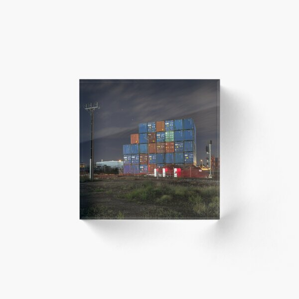 Containers at Night Acrylic Block