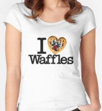I Love (Heart) Waffles Women's Fitted Scoop T-Shirt