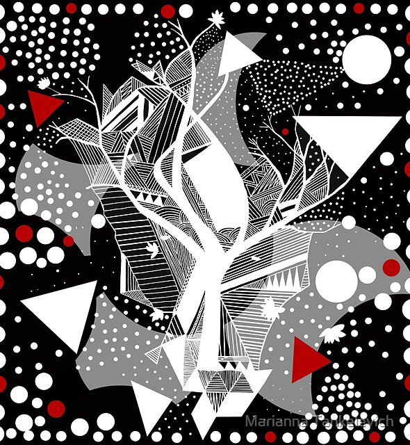black and white abstract with touch of red by Marianna Tankelevich