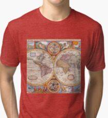 Vintage Antique Old World Map cartography Tri-blend T-Shirt