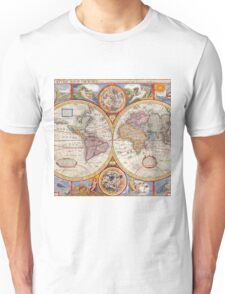 Vintage Antique Old World Map cartography Unisex T-Shirt