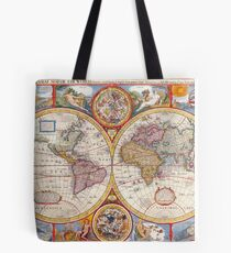 Vintage Antique Old World Map cartography Tote Bag