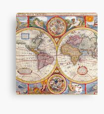 Vintage Antique Old World Map cartography Canvas Print