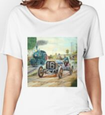Vintage Cars Racing Scene,train painting Women's Relaxed Fit T-Shirt