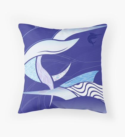 Blue Leggings - Marlin Maze Throw Pillow