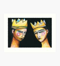 King & Queen of hearts Art Print