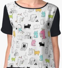 Cats. Dinosaurs. Unicorn. Sticker set. Chiffon Top
