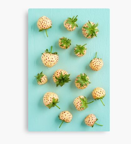 Fresh pineberries on turquoise Canvas Print