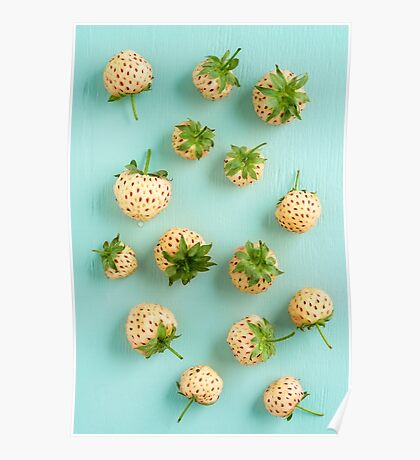 Fresh pineberries on turquoise Poster