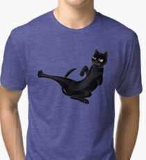 Cute black karate cat fighting Tri-blend T-Shirt