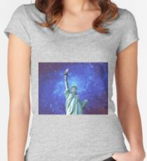 Statue of Liberty - Night Sky Women's Fitted Scoop T-Shirt