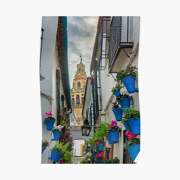 Narrow street and bell tower in Cordoba Poster