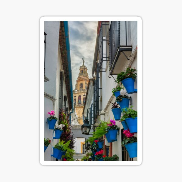 Narrow street and bell tower in Cordoba Sticker