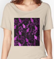 Watercolor Floral and Cat II Women's Relaxed Fit T-Shirt