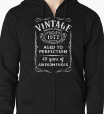 Vintage Limited 1977 Edition - 40th Birthday Gift Zipped Hoodie