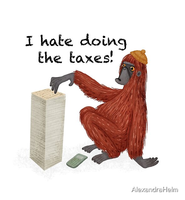 Orangutan doing taxes by Alexandra Helm