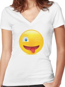 Tongue Women's Fitted V-Neck T-Shirt