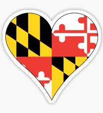 Maryland Flag Heart Shape Sticker