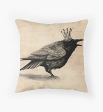 Crow in crown Throw Pillow