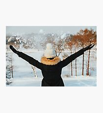 Girl Throwing Snow In Air During Winter Photographic Print