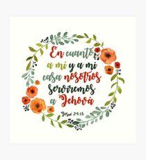 Corona de flores con frase bíblica Josué  Art Print