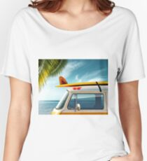 Surfer Camper Van - Surf Beach Palm Tree  Women's Relaxed Fit T-Shirt