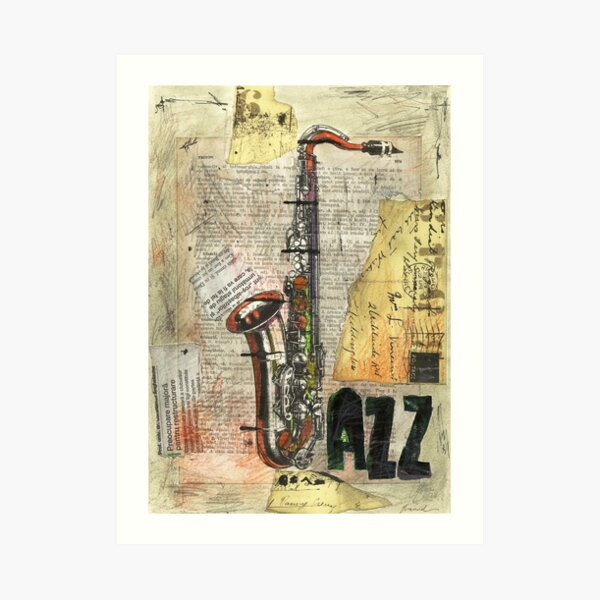 YOUNG MAN PLAYING A SAXOPHONE MUSIC MOUNTED CANVAS PRINT WALL ART PICTURE DECOR