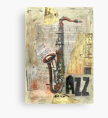 Jazz collage art drawing painting saxophone music  Metal Print