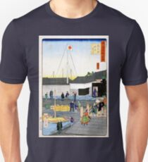 Hiroshige The Akashi Bridge in Teppōzu Unisex T-Shirt