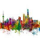 Shanghai China Skyline by Michael Tompsett