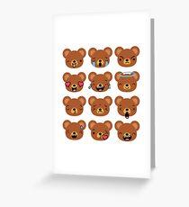Bear Emojis Emoticons Cute Faces Greeting Card