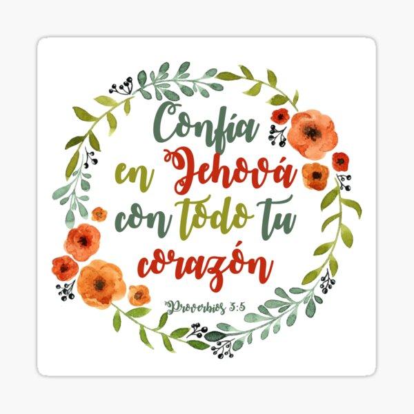 Corona de flores con frase bíblica Proverbios Pegatina