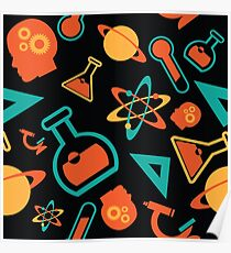 Science icons seamless pattern. Poster