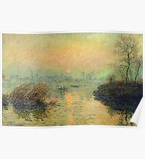 Claude Monet - Sun Setting Over The Seine At Lavacourt. Winter Effect 1880 Poster
