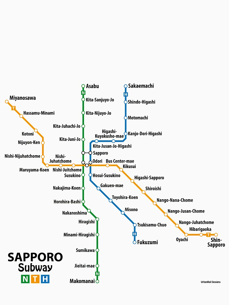SAPPORO Subway Network Unisex TShirt by UrbanRail Redbubble