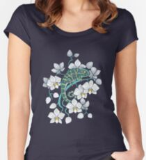 Chamäleons und Orchideen Tailliertes Rundhals-Shirt