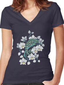 chameleons and orchids  Women's Fitted V-Neck T-Shirt