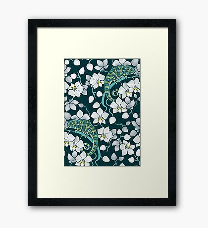 chameleons and orchids  Framed Print