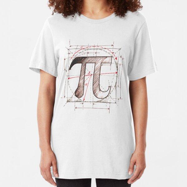 Pi Symbol Sketch Slim Fit T-Shirt