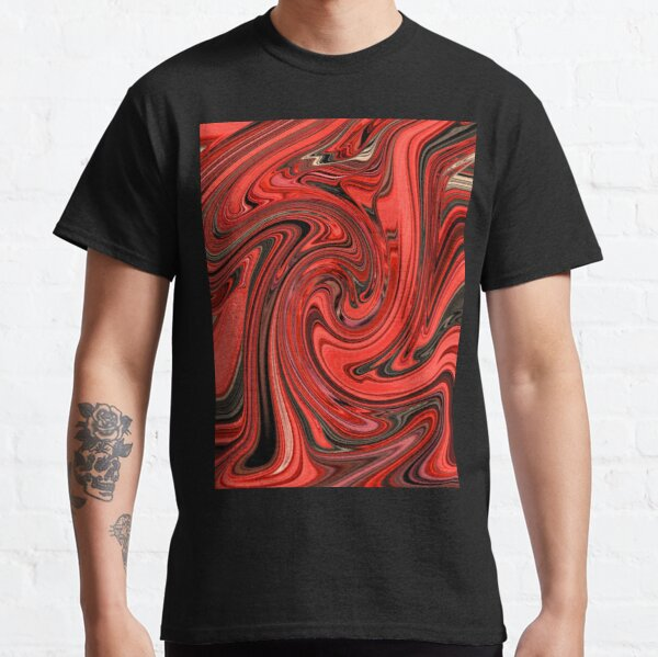 Abstract Design Red and Black Swirl Design Pattern Classic T-Shirt