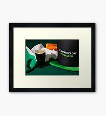 St Patrick day with a pint of black beer, hat and irish flag Framed Print