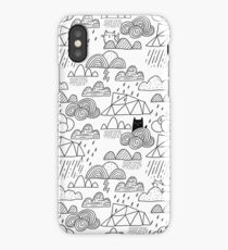 Doodle clouds and cats iPhone Case/Skin