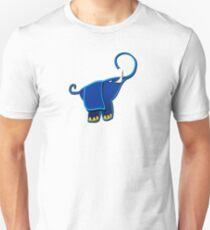 Cute Funny Elephant - Blue Cartoon Animal Character Drawing  Unisex T-Shirt