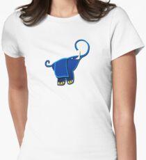 Cute Funny Elephant - Blue Cartoon Animal Character Drawing  T-Shirt