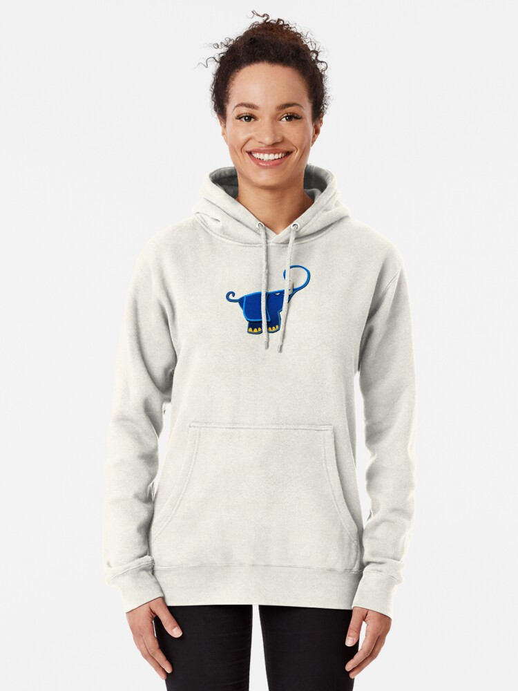 Cute Elephant with Butterfly Long Sleeve Gray Cotton Hooded Sweatshirt Personality Cartoon