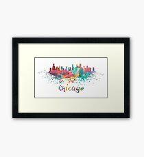 Chicago Water Color Skyline Framed Print