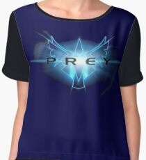 'Prey' game logo in luminescent blue Chiffon Top