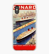 Cunard Vintage Travel Poster restauriert iPhone-Hülle & Cover