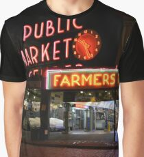 Pike Place Market - Seattle, Washington, USA Travel Night Graphic T-Shirt