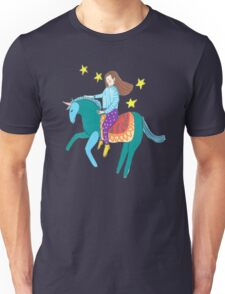 Girl riding a unicorn Unisex T-Shirt